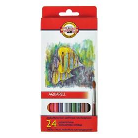 """Карандаши акварельные 24 цвета 3.0 мм Koh-I-Noor """"Рыбки"""" 3718, картонная коробка, европодвес, L=175 мм"""
