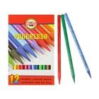Карандаши художественные цветные Koh-I-Noor PROGRESSO 8756 12 цветов цельнографитовые в картонной коробке