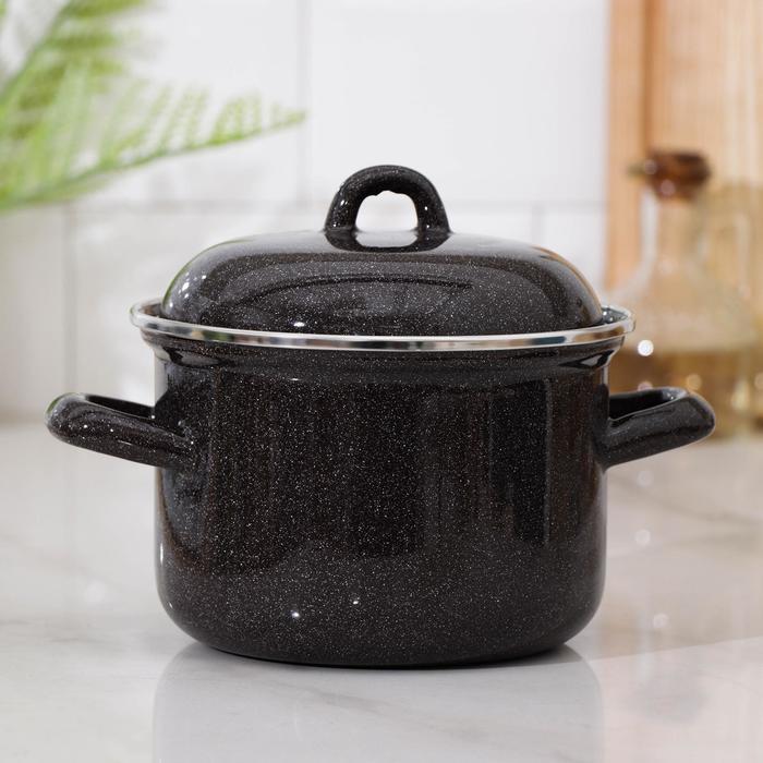 Кастрюля, 1,5 л, металлическая крышка, цвет чёрный - фото 730549