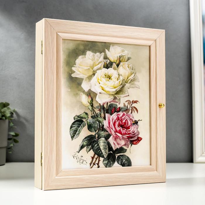 """Ключница """"Бело-розовый букет"""" 26х31 см - фото 868573"""