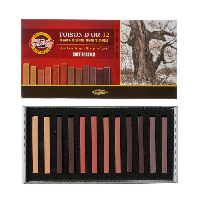 Пастель сухая художественная Soft Koh-I-Noor TOISON D`OR 8592 2B 12 цветов градация коричневого
