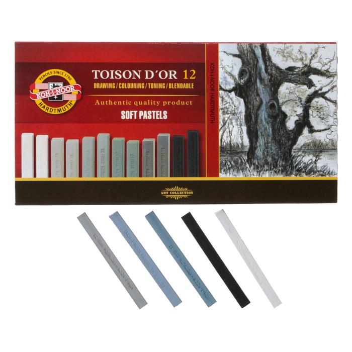 Пастель сухая художественная Soft Koh-I-Noor TOISON D`OR 8592 2B 12 цветов градация серого