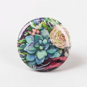 Игольница магнитная «Суккулент и роза», d = 2,5 см, цвет разноцветный