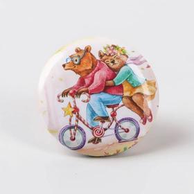 Игольница магнитная «Мишки на велосипеде», d = 2,5 см, цвет разноцветный