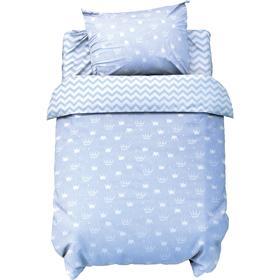 Постельное белье беби «LoveLife» Голубые короны 112*147 см, 60*120+20 см, 40*60 см