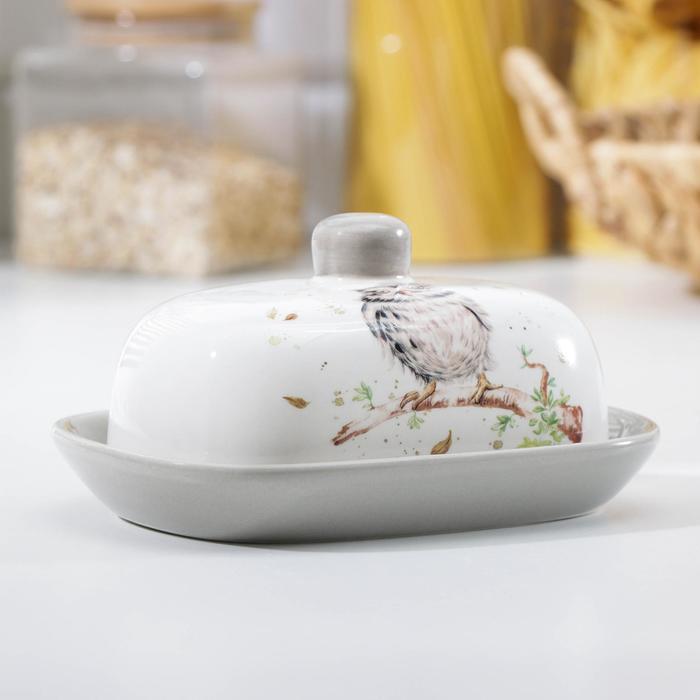 Маслёнка Доляна «Совушка», 17,2×12,4×8,5 см