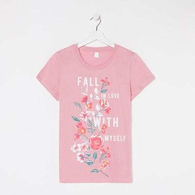 Футболка женская, цвет розовый, размер 46