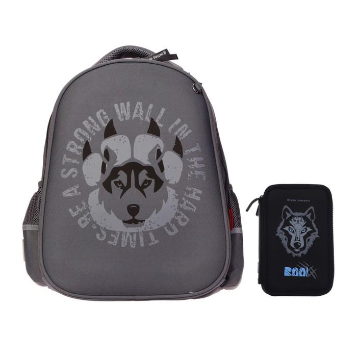 Рюкзак каркасный Bruno Visconti 38 х 30 х 20 см, «Волк», пенал в подарок - фото 9757629