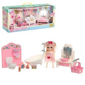 Кукла модная «Женечка», шарнирная, с ванной , мебелью и аксессуарами