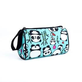 Косметичка-сумочка, отдел на молнии, цвет голубой, «Панды» в Донецке