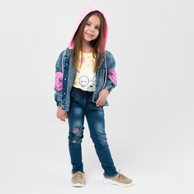 Куртка джинсовая для девочки, цвет синий, рост 110 см