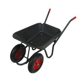 Тачка садово-строительная, двухколёсная: груз/п 150 кг, объём 95 л, пневмоколесо, корыто из пластика, цвет ручки МИКС
