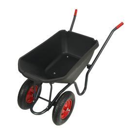 Тачка садово-строительная, двухколёсная: груз/п 150 кг, объём 115 л, пневмоколесо, корыто из пластика, цвет ручки МИКС
