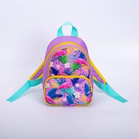 Рюкзак детский, отдел на молнии, наружный карман, цвет сиреневый, «Фламинго»