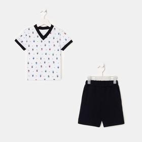 Комплект для мальчика, цвет белый/чёрный, рост 86-92 см