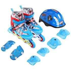 Роликовые коньки Hot Wheels, PU колеса со светом, в комплекте с защитой и шлемом, XS (26-29)