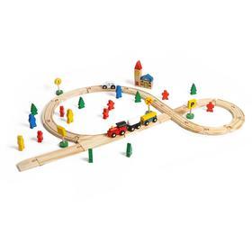 Деревянная игрушка «Железная дорога», 48 деталей
