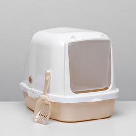 Туалет закрытый «Айша» с совком, 53 × 39 × 40 см, бежевый перламутр