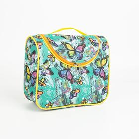 Косметичка-сумка, отдел на молнии, цвет мятный, «Бабочки» в Донецке