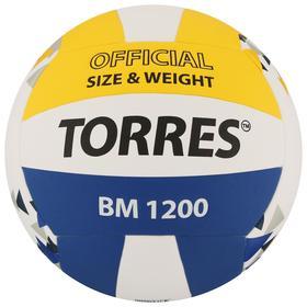 Мяч волейбольный TORRES BM1200, размер 5, синтетическая кожа (микрофибра), клееный, бутиловая камера, цвет белый/синий/жёлтый