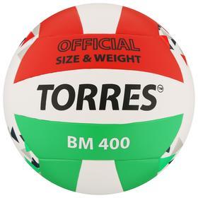 Мяч волейбольный TORRES BM400, размер 5, синтетическая кожа (ТПУ), клееный, бутиловая камера, цвет белый/красный/зелёный