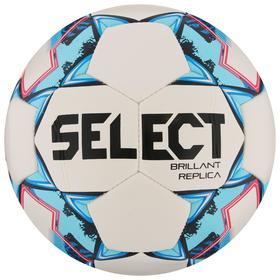 Мяч футбольный SELECT Brillant Replica, размер 4, 32 панели, ПВХ, машинная сшивка, цвет белый/голубой