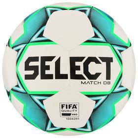 Мяч футбольный SELECT Match DВ FIFA, размер 5, FIFA PRO, 32 панели, ПУ, гибридная сшивка, цвет белый/зелёный/голубой