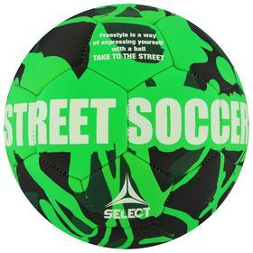 Мяч футбольный SELECT Street Soccer, размер 5, 32 панели, резина, машинная сшивка, латексная камера, цвет чёрный/зелёный