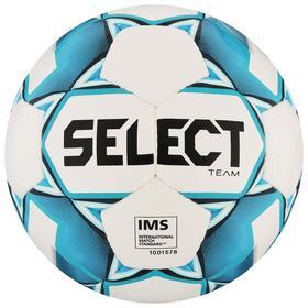 Мяч футбольный SELECT Team IMS, размер 5, IMS, 32 панели, ПУ, ручная сшивка, цвет белый/синий