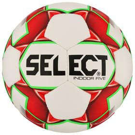 Мяч футзальный SELECT Indoor Five, размер 4, 32 панели, ПУ, ручная сшивка, цвет белый/красный