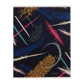 """Тетрадь 48 листов в клетку """"Абстракция"""", обложка мелованный картон, выборочный лак, блёстки, блок офсет"""