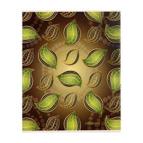 """Тетрадь 48 листов в клетку """"Листья"""", обложка мелованный картон, выборочный лак, блёстки, блок офсет"""