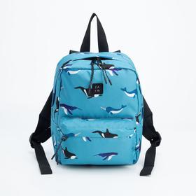 Рюкзак, отдел на молнии, наружный карман, цвет голубой, «Киты»