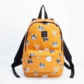 Рюкзак, отдел на молнии, наружный карман, цвет оранжевый, «Коты»