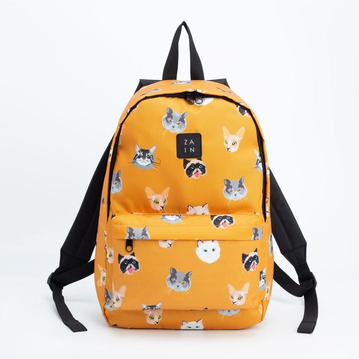 Рюкзак, отдел на молнии, наружный карман, цвет оранжевый, «Коты» - фото 822463