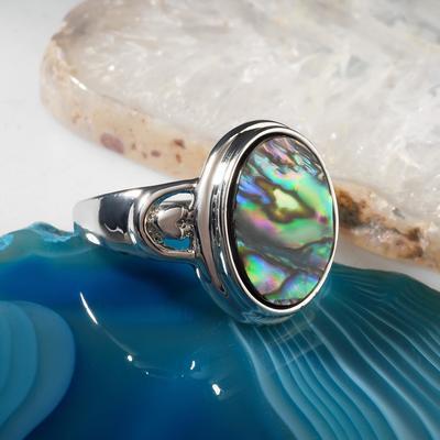 """Кольцо """"Галиотис"""" овал мини, цвет зелёный в серебре, размер МИКС"""