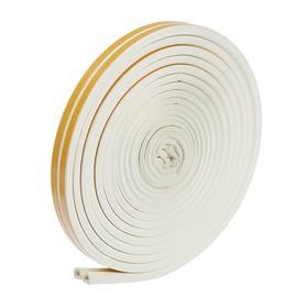 Уплотнитель для окон, профиль D, на клейкой основе, белый, в упаковке 10 м