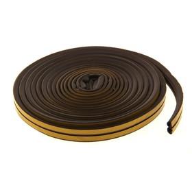 Уплотнитель для окон, профиль D, на клейкой основе, коричневый, в упаковке 10 м
