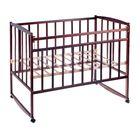 Детская кроватка на колёсах или качалке, цвет тёмный орех