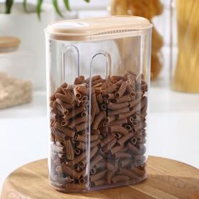Емкость для сыпучих продуктов 1,5 л с дозатором, цвета МИКС