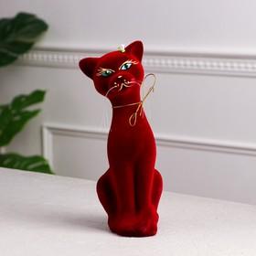 """Копилка """"Кошка Аннет"""", покрытие флок, бордовая, 25 см"""