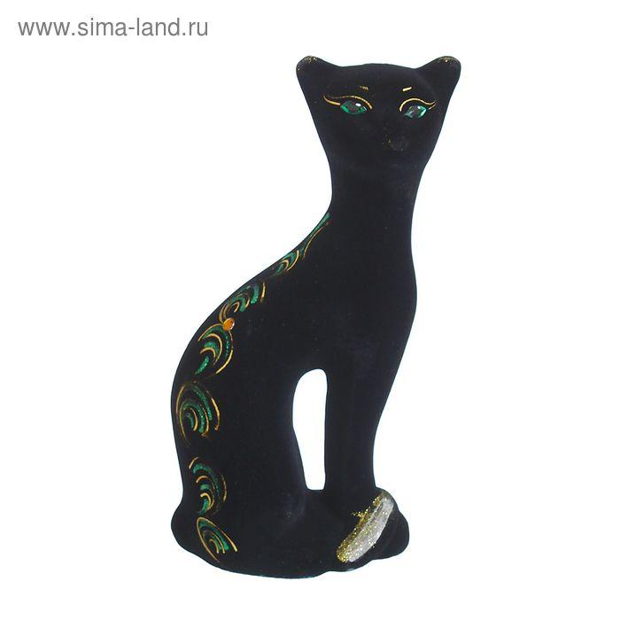 "Копилка ""Кошка Ласка"" флок, чёрная, микс"