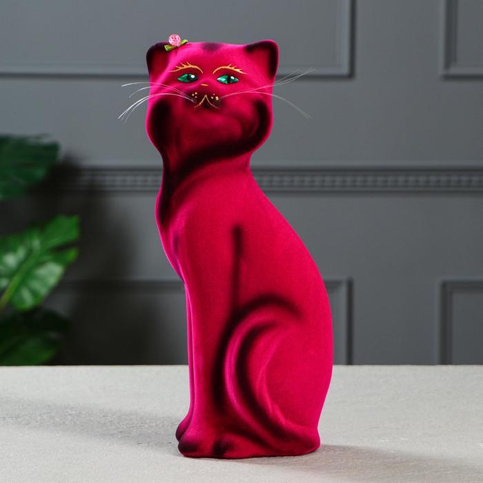 """Копилка """"Кошка Матильда"""" малая, флок, розовая"""
