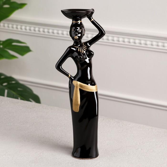 """Статуэтка """"Эфиопка с тарелкой"""", чёрная, керамика, 32 см"""