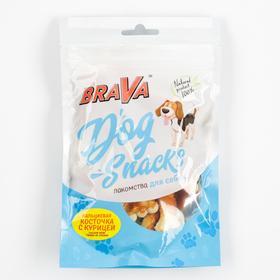 Лакомство BraVa кальциевая косточка с курицей для собак, 90 г