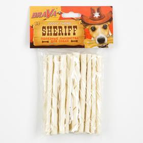 "Лакомство BraVa Sheriff для собак сыромятная витая палочка, белая 5"" 12,5 см, 20 х 5-6 г"