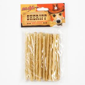 "Лакомство BraVa  Sheriff для собак сыромятная витая палочка 5"" 12,5см, 20 х 5-6 г"