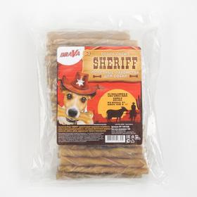 "Лакомство BraVa  Sheriff для собак сыромятная витая палочка 5"" 12,5см, 100 х 9-10 г"