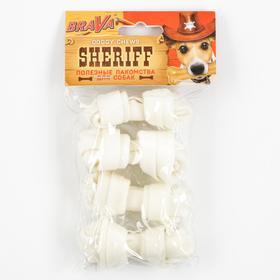 "Лакомство BraVa Sheriff для собак сыромятная косточка узел, белая 3"" 7,5см, 4 х 10-12 г"