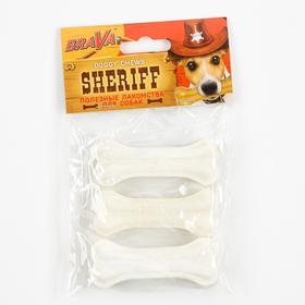 "Лакомство BraVa  Sheriff для собак кость из жил, белая 3"" 7,5см, 3 х 20-25 г"